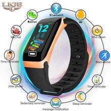 LIGE inteligentna bransoletka monitor zdrowia tętno/ciśnienie krwi/wodoodporny krokomierz zegarki męskie i damskie sportowa bransoletka