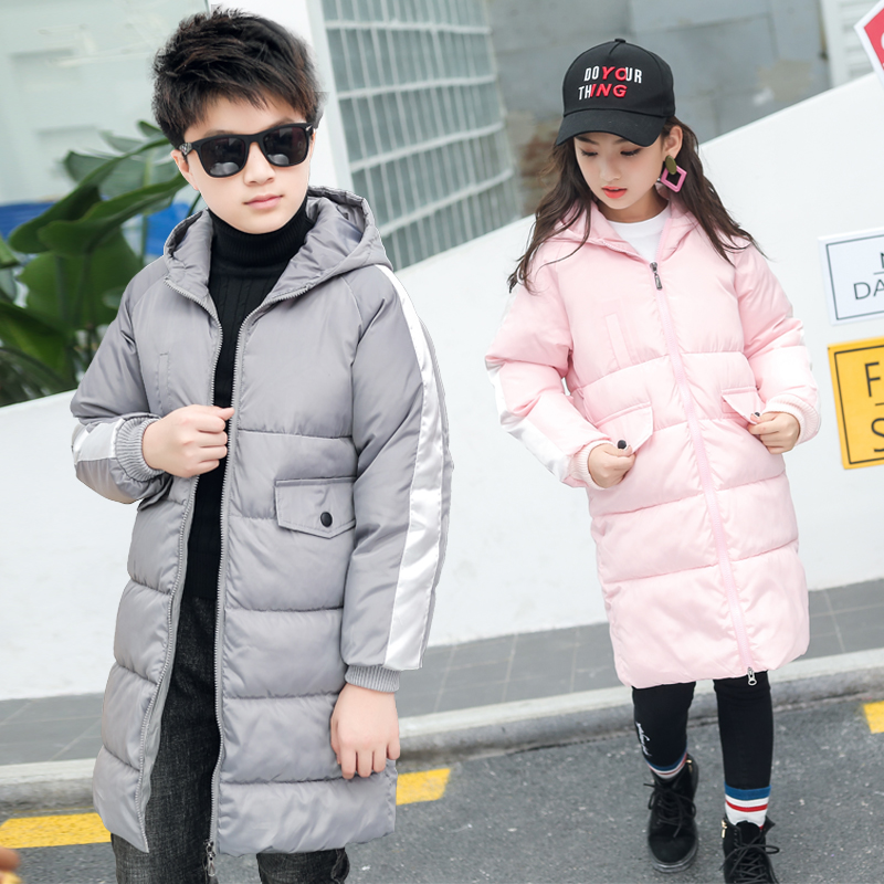2018 Fall Winter Children's Cotton Padded Clothes Girls Long Casual Wadded Coat Boys Hooded Brief Outerwear Quilted Jacket A819 long section men s wadded jacket fashion solid cotton padded clothes trench coat hooded jacket casual outerwear slim parka m 3xl