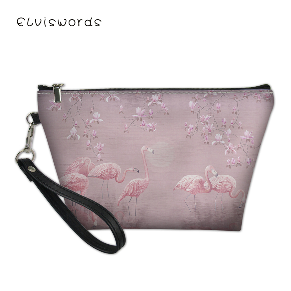 ELVISWORDS Women 39 s Cosmetic Bags Flower Flamingos Prints Pattern Female Small Travel Make Up Bag Girls Organizer Toiletry Bag in Cosmetic Bags amp Cases from Luggage amp Bags