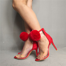 Plus Size Red Summer Shoes Woman Sandals High Heels 10CM Fur Pom Pom Ankle Strap Gladiator Sandalias Dress Wedding Party Shoes ankle strap slide sandals with pom pom