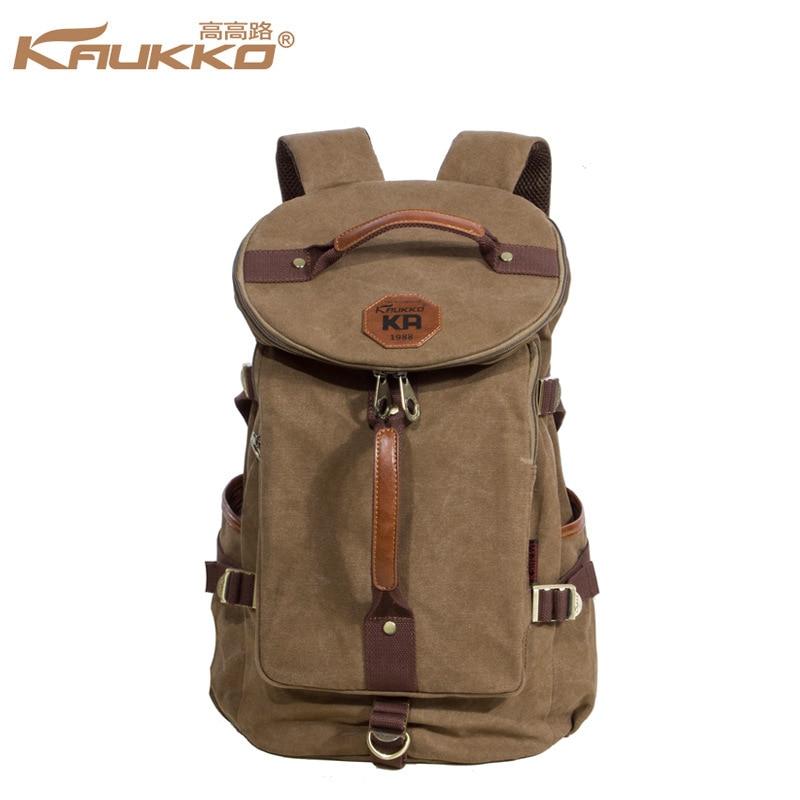 все цены на Kaukko Large Capacity Shoulder Bag Mens travel Canvas  Backpack  Unisex  Bags  for Teenager School Knapsacks онлайн