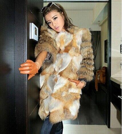 daca3ecf3 2018 New Genuine Red Fox Fur Coat With Raccoon Fur sleeve Winter ...