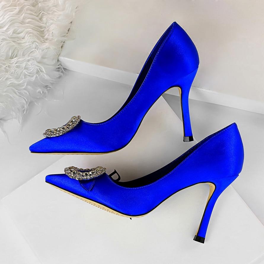 2019 Women Fetish 9.5cm High Heels Female Bridal Heels Pumps Lady Scarpins Blue Green Pink  Glitter Crystal Rhinestone Red Shoes