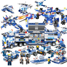 725pcs 825pcs Upgrade 8 IN 1 Robot Aircraft Car City Police Series Legoings Building Blocks Toy Kit DIY Educational Children(China)