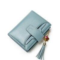 2018 New Women Wallet Lady Genuine Leather Faux Jewels Tassel Purse Girls Multifunctional Fashion Hasp Card Package billfold Bag