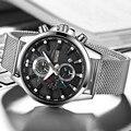 Топ бренд Роскошные мужские часы ультра тонкий сетчатый ремешок 2018 Мода TEMEITE 3 рабочие суб-циферблаты 6 стрелок Хронограф Дата Часы