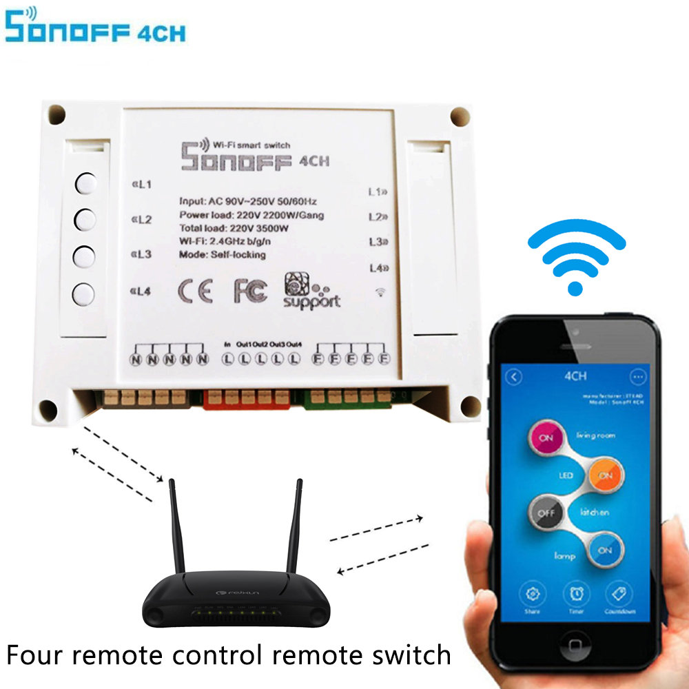 Sonoff 4CH Itead 4channels Smart Home Remote Control Wireless Automation Modules on/off  wifi via Mobile APP Timer power Switch oobest new sonoff b1 smart wifi dimmable e27 led lamp rgb color light timer bulb remote turn on off via app 600lm energy saving