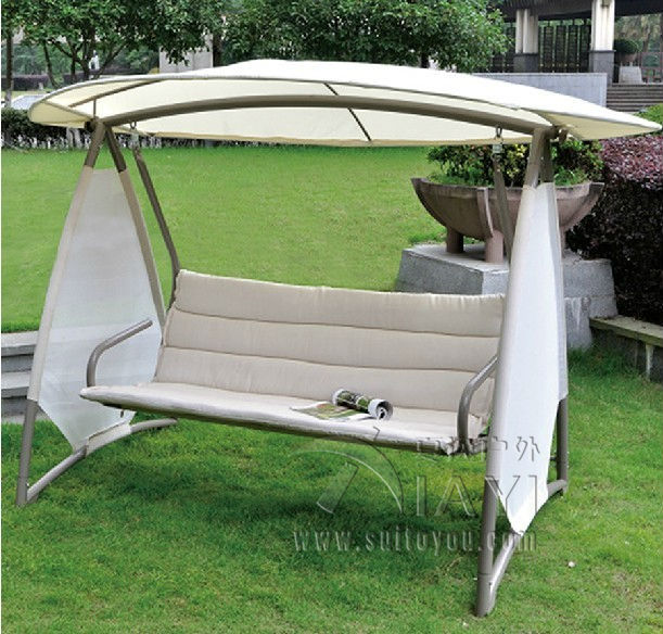 Outdoor Covered Swing Bench W Canopy Seats 3 Garden Backyard