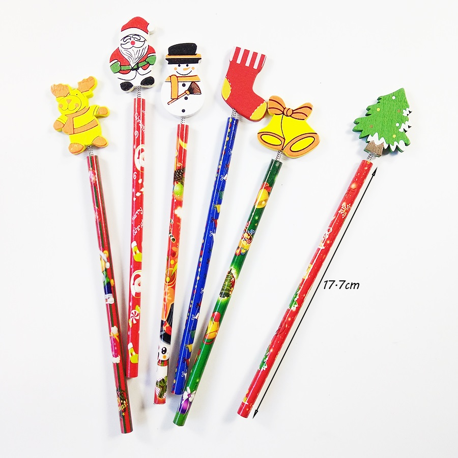 60 Pcs lot Merry Christmas Shape wooden Pencils Gift For Children Santa Claus Cartoon Wood Office Stationery School in Standard Pencils from Office School Supplies