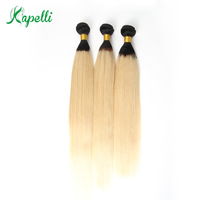 Kapelli Hair Brazilian Straight Hair 3 Bundles T1b/613 Color 100% Remy Human Hair Weaves 8 26 Ombre Hair Bundles Free Shipping