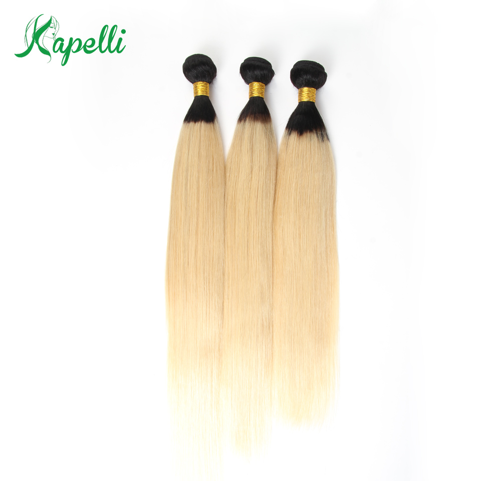 Kapelli Hair Brazilian Straight Hair 3 Bundles T1b/613 Color 100% Remy Human Hair Weaves 8-26 Ombre Hair Bundles Free Shipping