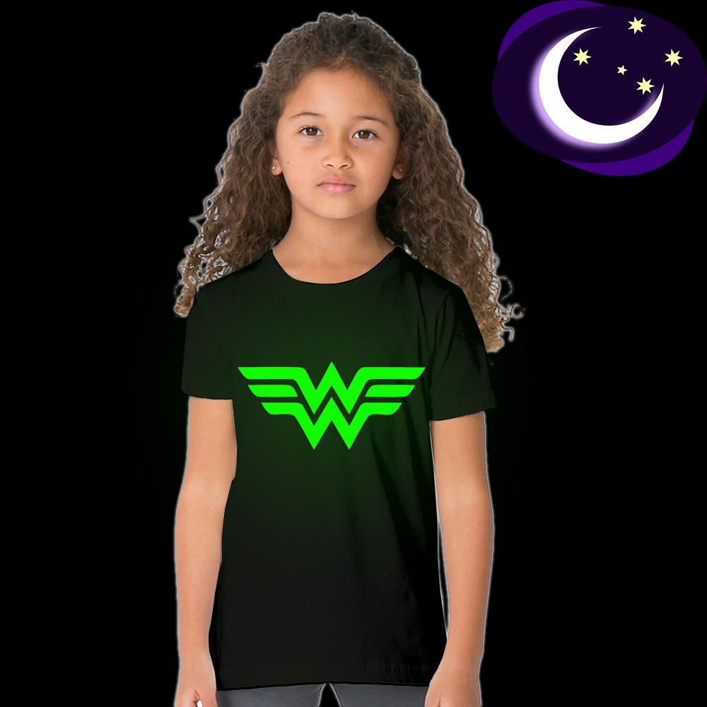 все цены на Luminous Wonder Woman Kid Girl T Shirt Glow In Dark Cartoon Print Baby Clothes Child Tee Short Sleeve O-Neck T-shirt Fluorescent