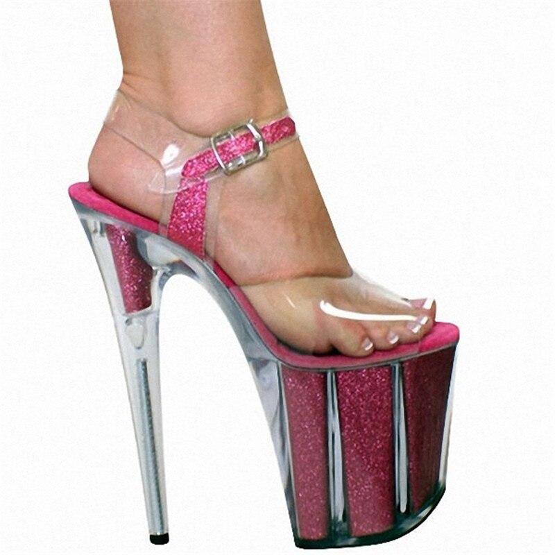 Mode Cm Haute Modèle Plate Talons Sexy Noir De En Fétiche Super 8 pu 01 argent rose forme Cristal Pouce Chaussures 20 Ciel Hauts Talon Brillant À Sandales 56UTp6