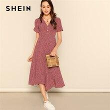 SHEIN ปุ่มด้านหน้า Allover พิมพ์ V คอชุดผู้หญิง 2019 Posh ฤดูร้อน Burgundy สายสั้น Fit และชุดเปลวไฟ