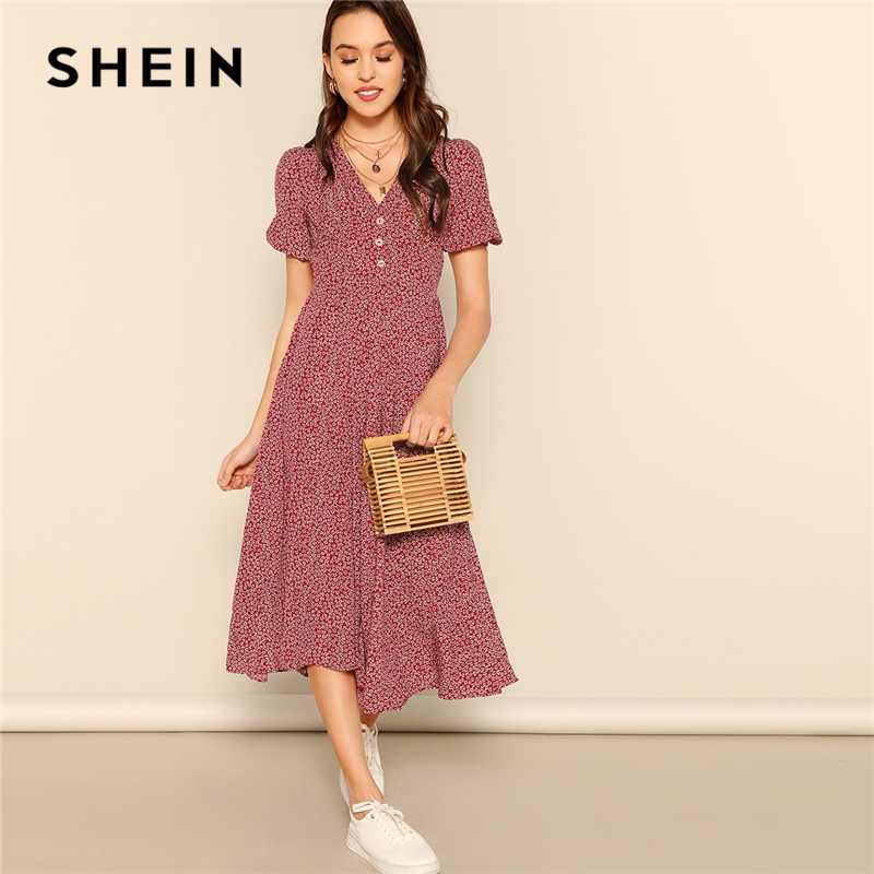 SHEIN Button Front Allover Print V-Neck Dress Women 2019 Posh Summer Burgundy A Line Short Sleeve Fit And Flare Dresses
