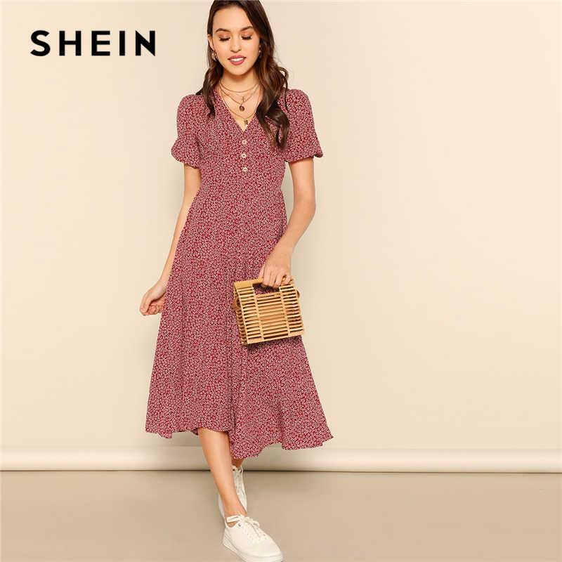 SHEIN кнопка спереди повторяющееся платье с v-образным вырезом и принтом женское 2019 шикарное летнее Бордовое платье трапециевидной формы с коротким рукавом и расклешенными платьями