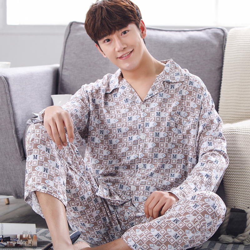 Pajama-Set Sleepwear Home-Clothes Striped Plus-Size 100%Cotton Two-Pieces Men Turn-Down-Collar