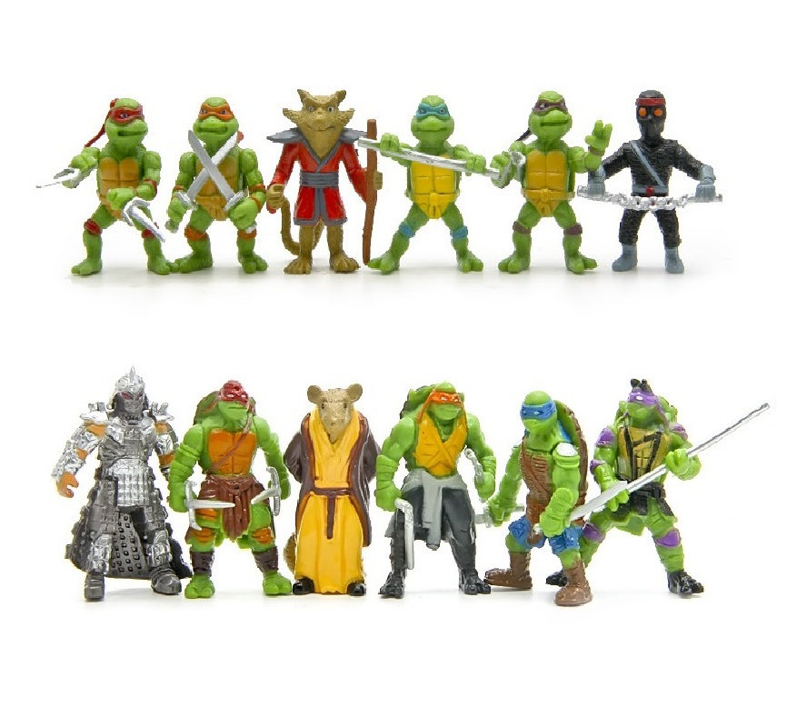 6pcs/set Turtle Action Figure Doll Toy Super Warrior Turtle And Mouse Teacher Turban Turtle Mini Figurine Deco For Home&Party