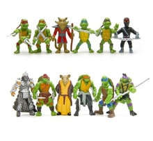 6pcs set Turtle Action Figure Doll Toy Super Warrior Turtle and Mouse Teacher Turban Turtle Mini