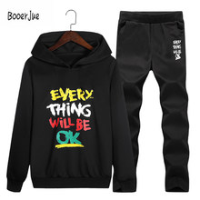 Fashion Men Tracksuit Autumn Men's Sets Sportswear Hip Hop Fleece Top Casual Elastic Pants Printing Men Sets Large 4XL Size 2018(China)