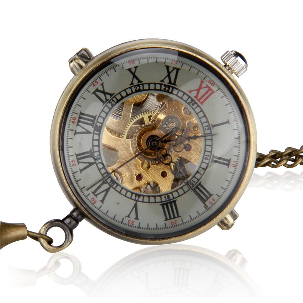 Practical  Unisex Retro Crystal Ball Mechanical Necklace Pendant Pocket Watch
