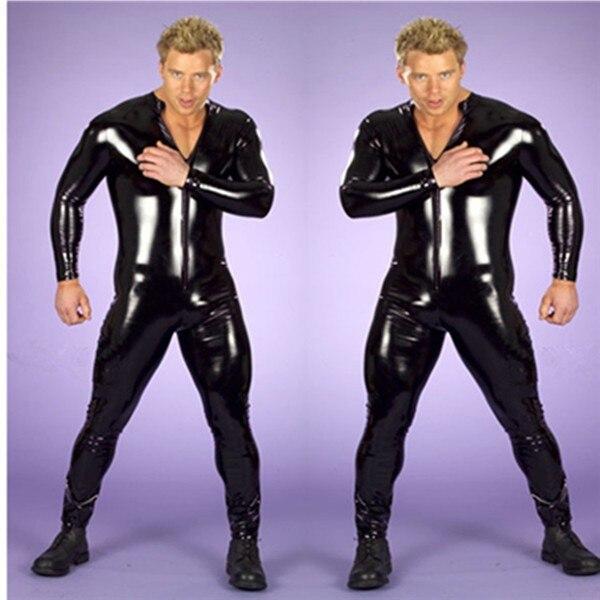 sexy lingerie faux leather Latex rubber bodysuit gay underwear Corsets men body jumpsuit stripper PVC body suit Male Catsuit
