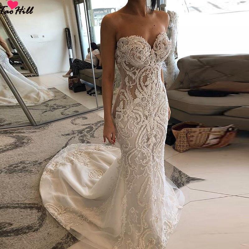 TaoHill Lace Applique Princess Bridal Wedding Dress Mermaid Robe De Marriage Pearls Vintage Court Train Beige Bride Gowns