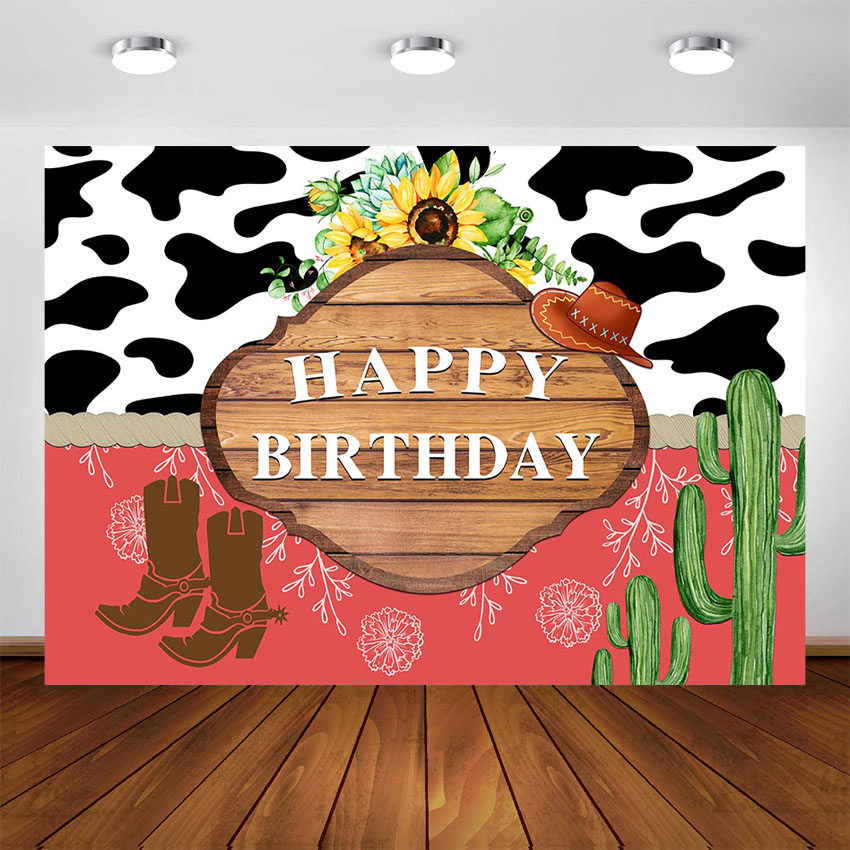 Western Happy Birthday Party Banner Sign Pink Beige Tan Red Royal Blue Horse