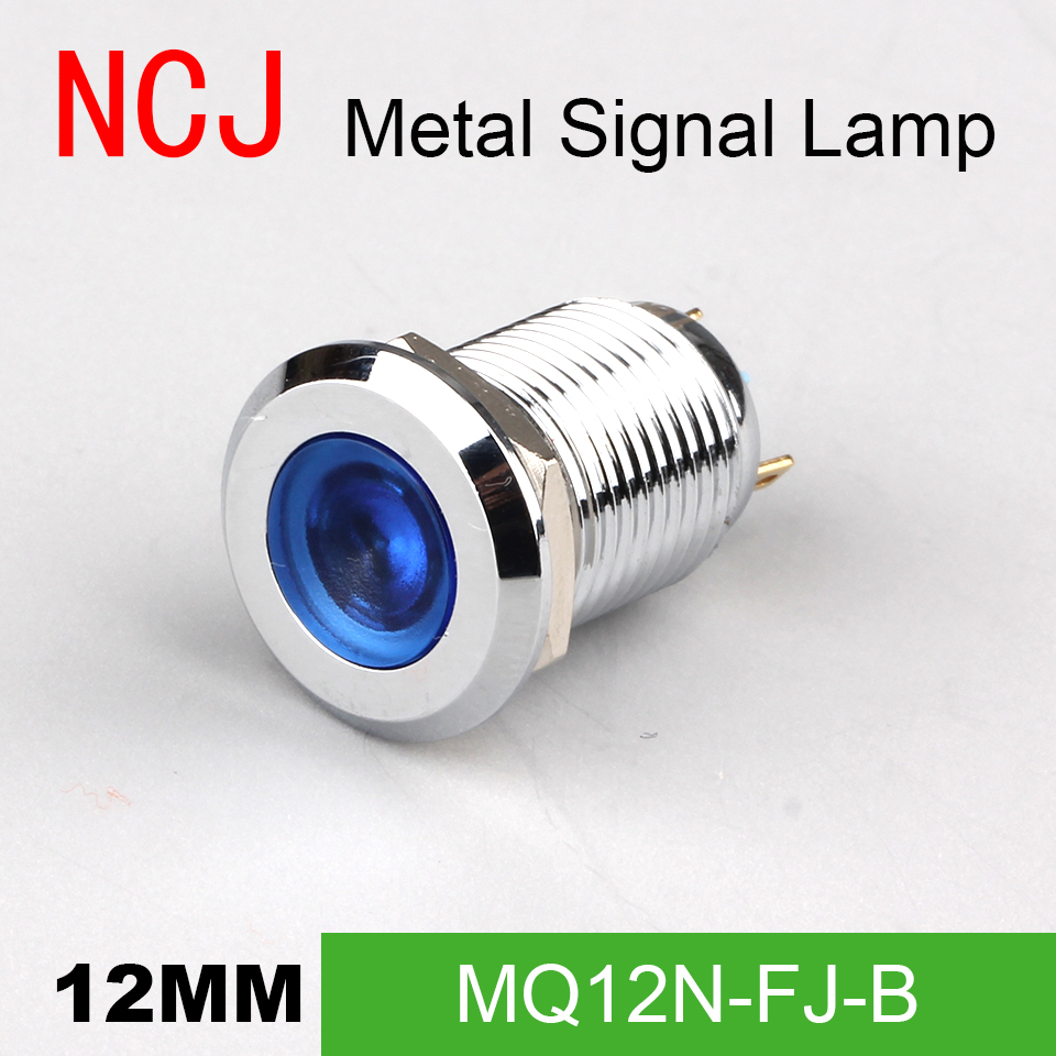 NCJ <font><b>12mm</b></font> <font><b>LED</b></font> Signal lamp Indicator pilot Warning light Signalization boat car panel dashboard 3V 6V 12V 24V 110V 220V image