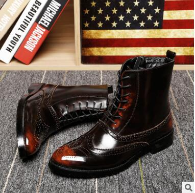 The new 2017 vintage brock male Martin boots boots leisure British pointed lace-up boots high tide to help men's boots