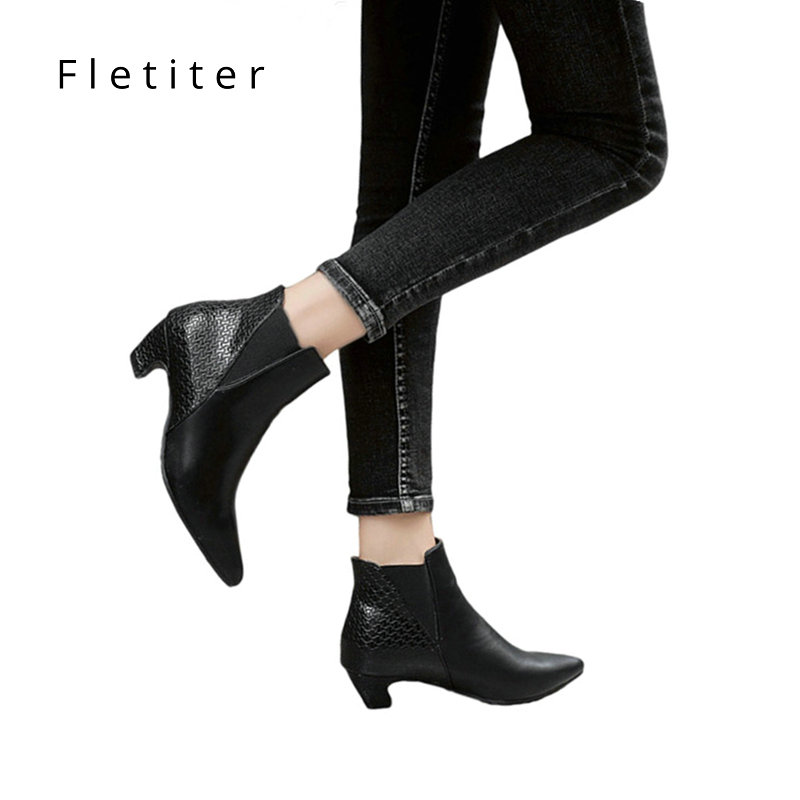 Ankle Boots women Kitten Heels Shoes Pointed Toe Women Shoes Winter Fashion low Heels Autumn shoes ladies Plus Size 34-43 brand plus size 34 43 winter autumn women soft leather knot low heels lovely knee high boots 3colors pink ladies fashion female shoes