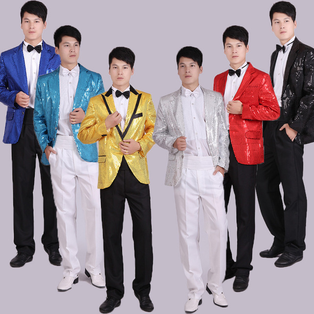 paillette male master Sequins Suit Stage Costumes Men terno Suit MC Host Clothing Singer Suits & Blazer show jacket