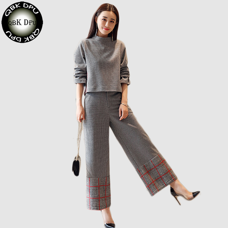 2018 Spring autumn Women grid long sleeve tshirt+wide leg pants Sets lady two Pieces trousers Suits high quality