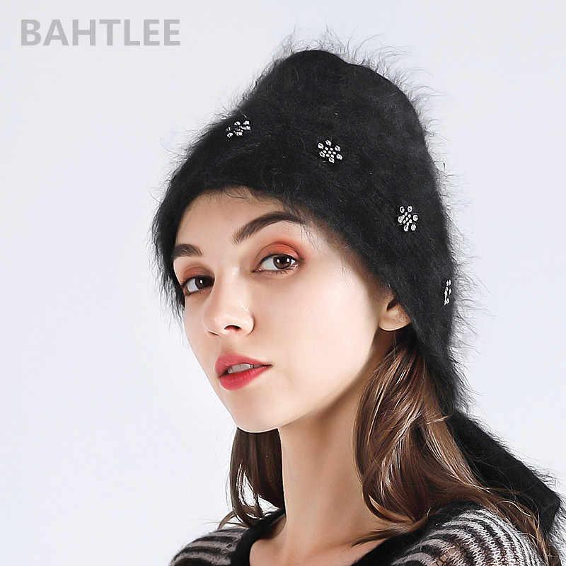 BAHTLEE Autunno inverno delle donne Musulmane di coniglio angora turbante hijab scialle sciarpa reale Della Pelliccia Wrap lavorato a maglia mantello del capo di colore nero
