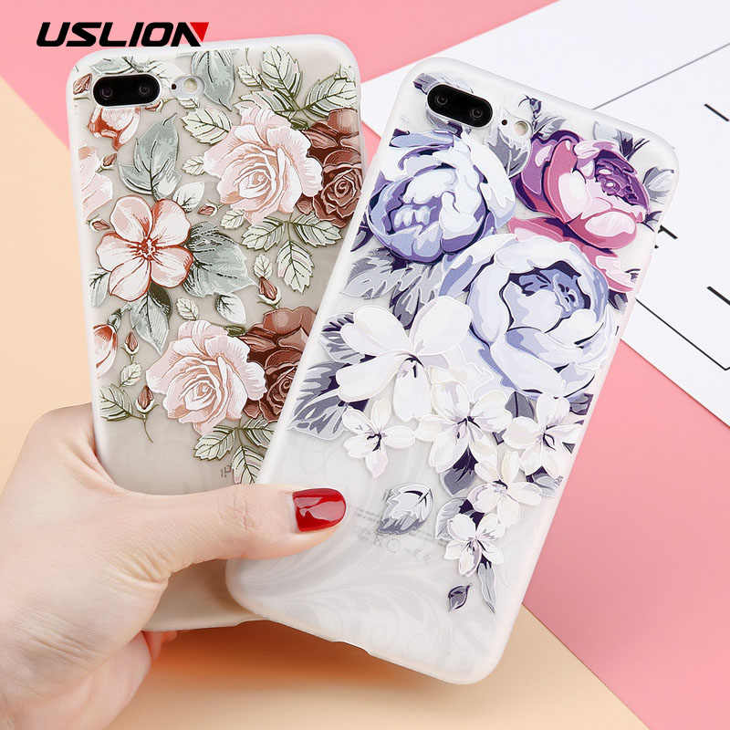 USLION 3D Relief Flower Phone Case For iPhone XS Max XR X 8 7 Plus Floral bc95583f965