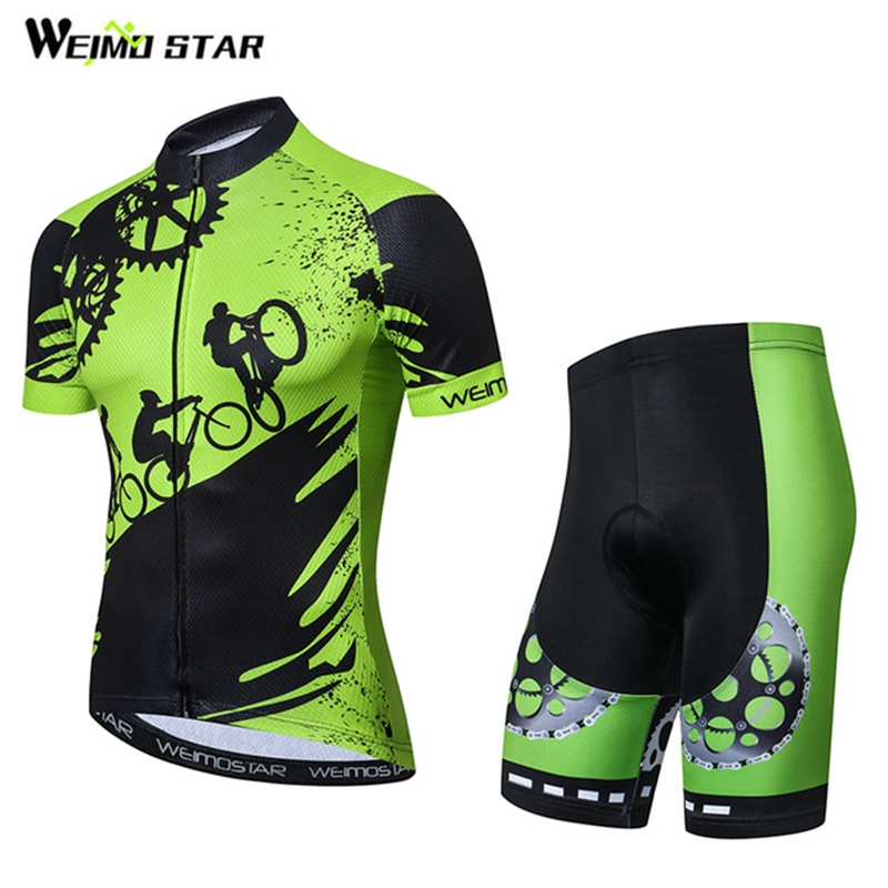 Cycling Jersey shorts set Men Cycling Clothing bicycle Top Suit Ropa Ciclismo maillot blouse MTB Shirts Sports Green