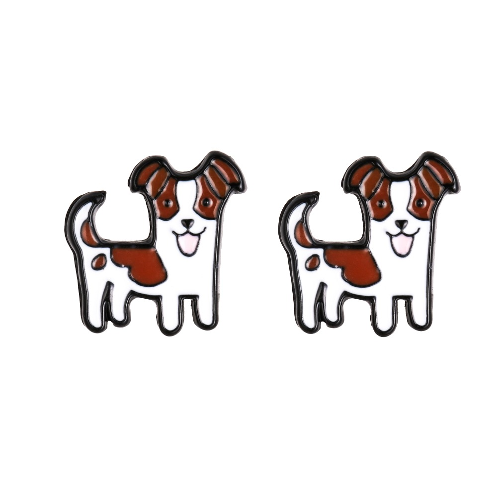 Daisies Jack Russell Puppy Shaped Enamel Handmade Cute Cartoon Animal Dog Stud Earrings For Women Animal Jewelry
