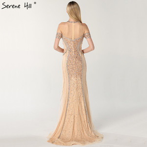 Image 2 - Luxury Sexy Gold Diamond Mermaid Evening Dresses Sleeveless Sparkly Mermaid Evening Gown  2020  Real Photo LA60797