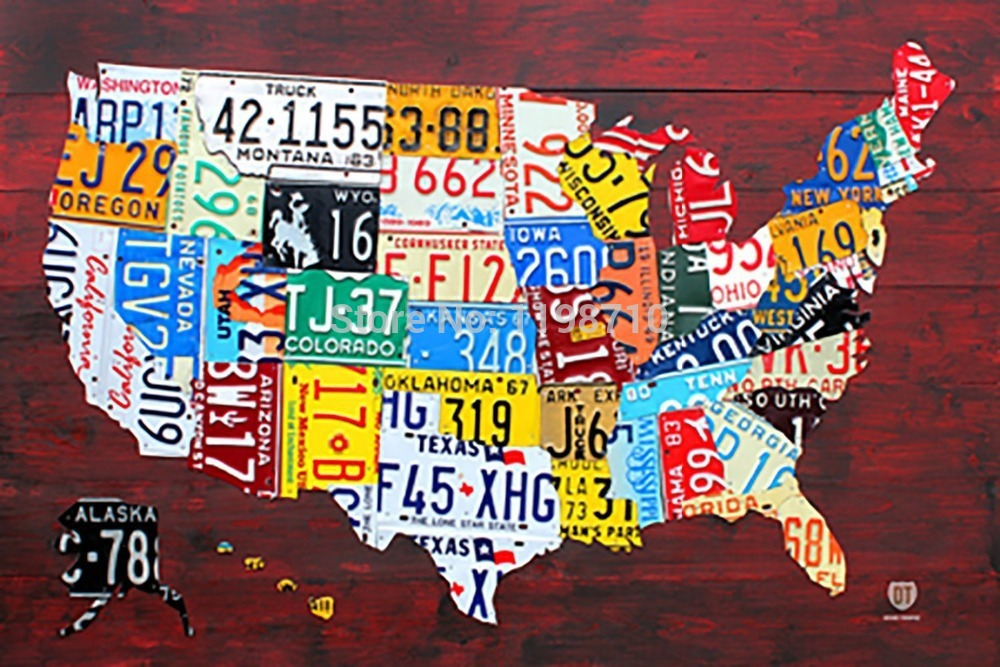 License Plate Map of American Art Poster Print 20X30 \
