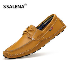 Mens Comfortable Moccasins Shoes Breathable Leather Casual Boat Shoes Fashion Lace Up Handmade Shoes EU 35-47 AA11571