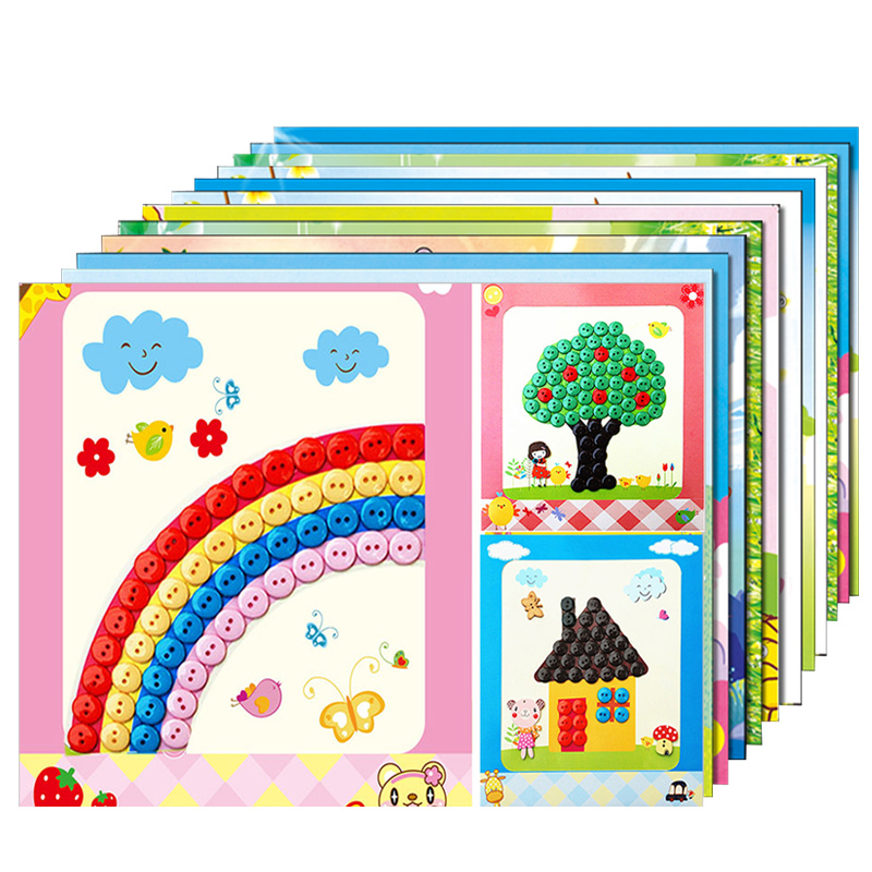 12pcs/Lot Button Stickers Drawing Board Toys For Children Handmade DIY Gift For Boy Girl New Year Montessori Speelgoed Brinque