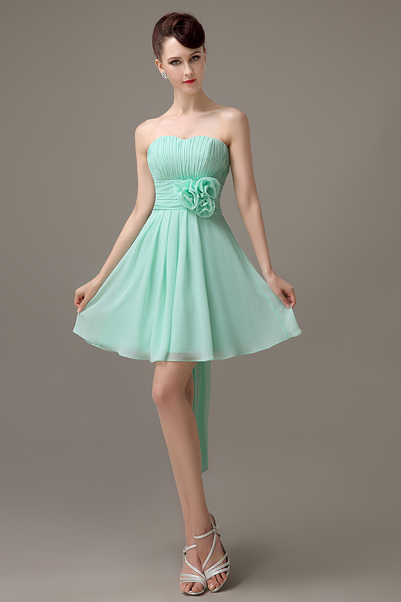mint green chiffon short strapless bridesmaid dress simple Cheap ...