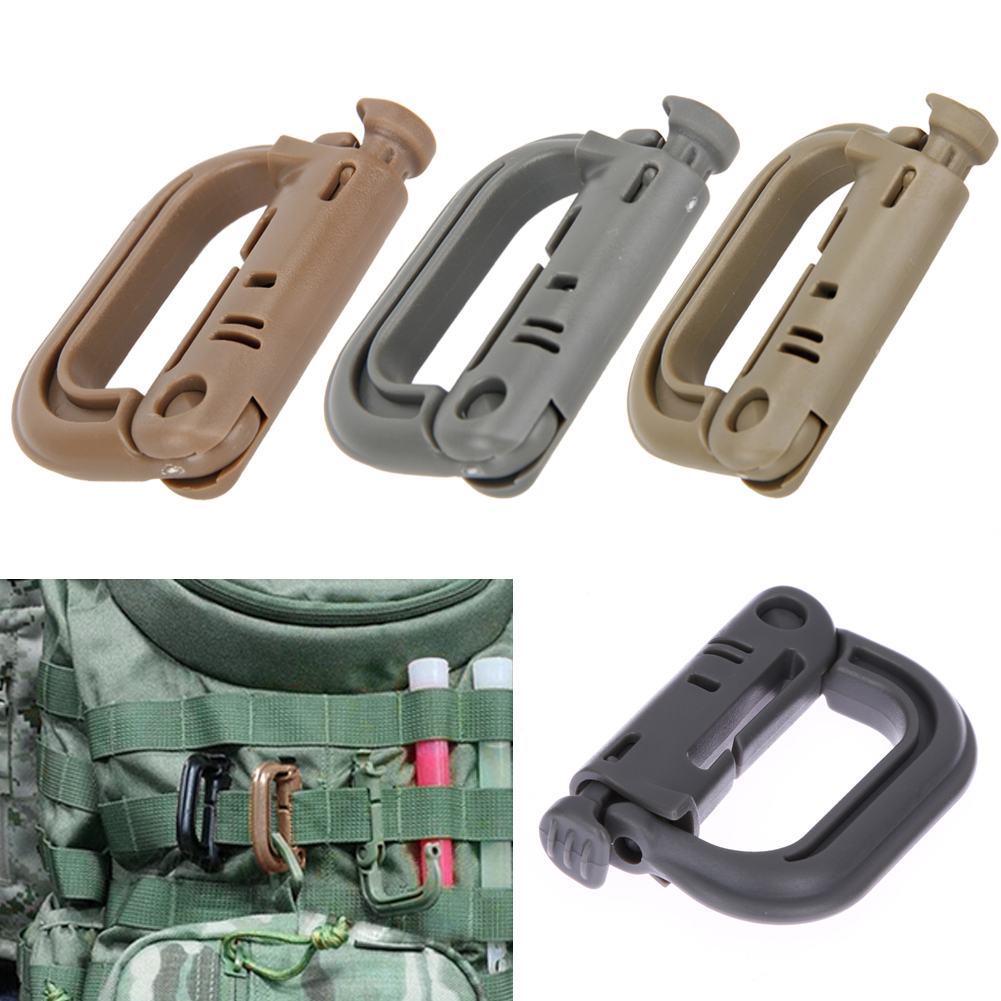 5Pcs/set Molle Tactical Backpack EDC Shackle Carabiner Snap D-Ring Clip Key Ring Locking Lightweight Plastic Carabiner Tools