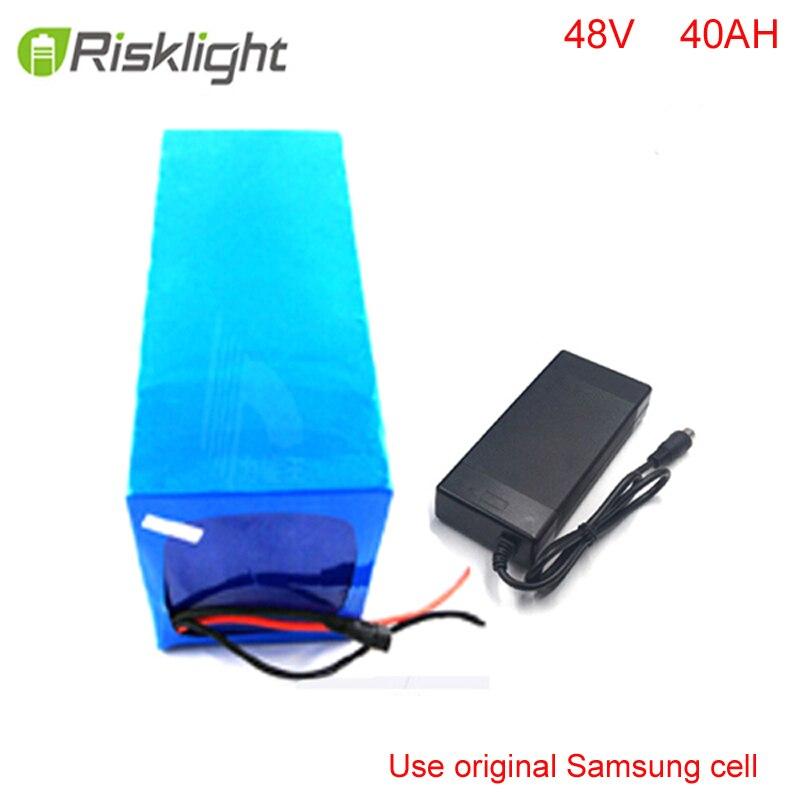48v 40ah da bateria Ebike 2000w 18650 bateria bafang 48v bateria de Lítio bicicleta elétrica com carregador BMS para Samsung celular