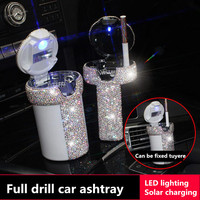 Portable Car Ashtray With Light Multi Function Led Car Ash Tray Ashtray Storage Cup Holder Crystal