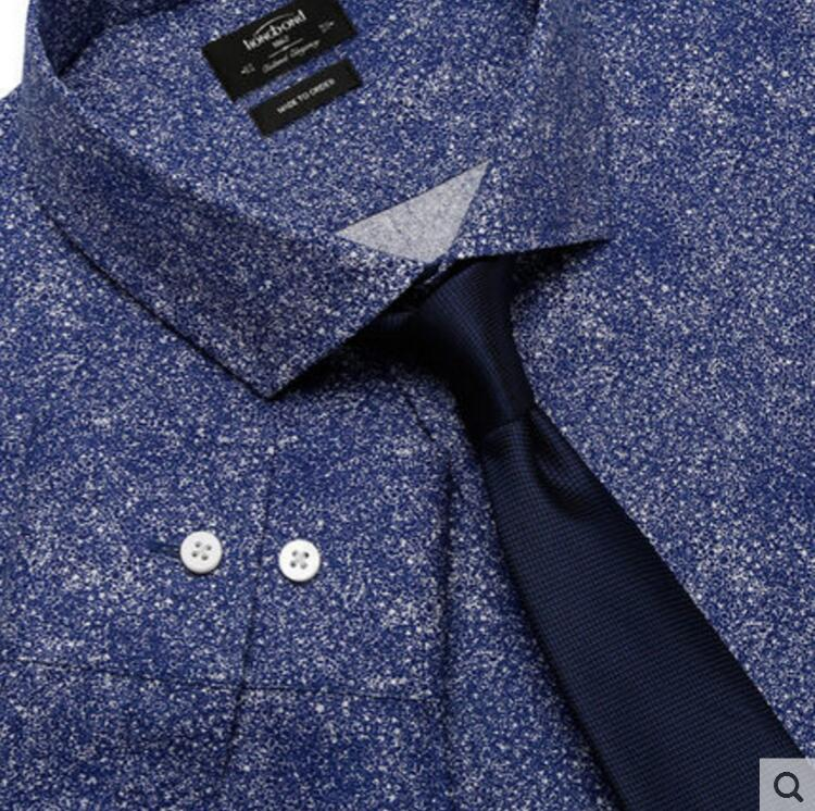 100%Cotton Blue Printed Shirt Men 's Business Fashion Style Spring Autumn Professional Tailor made High Quality - 3