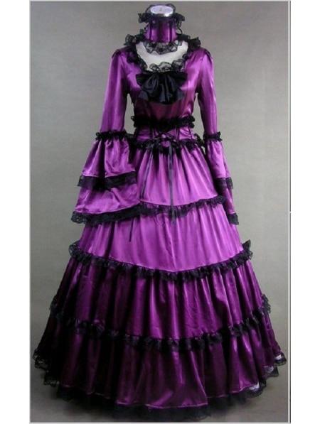 Victorian Purple Masquerade Dresses
