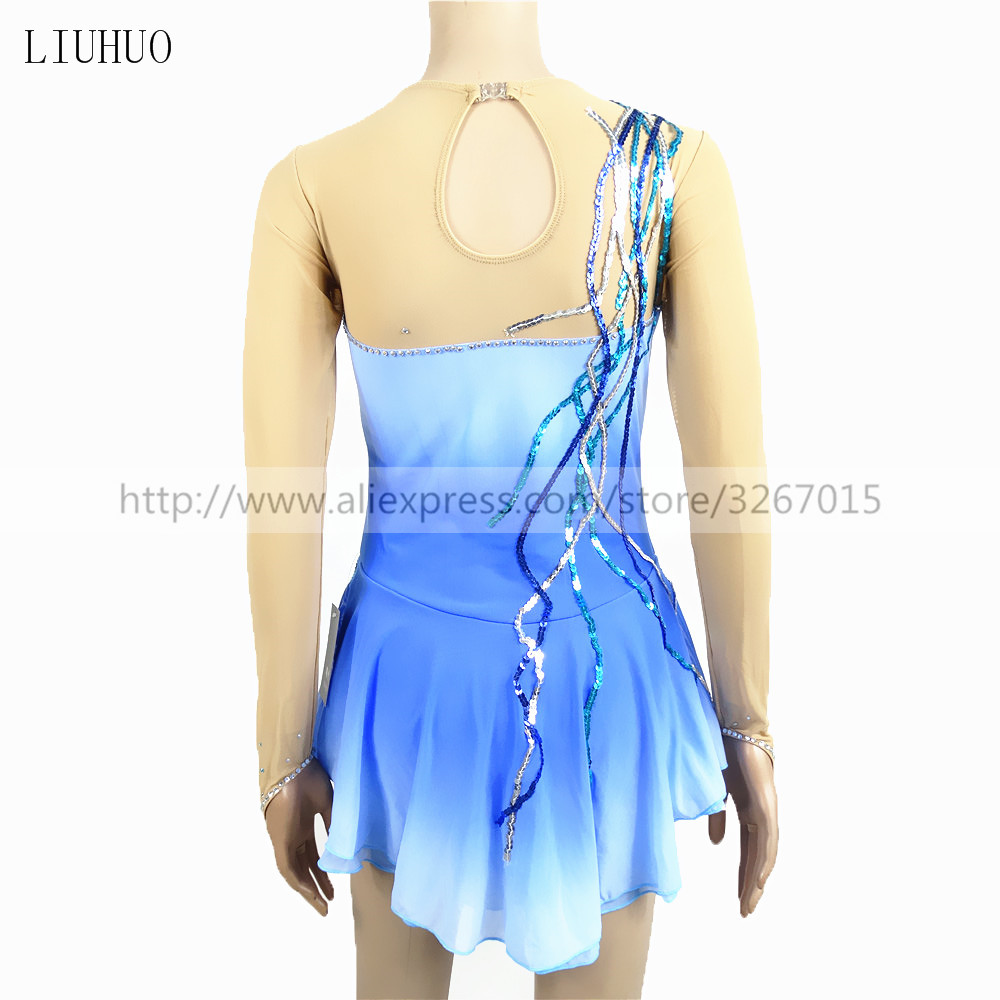 Figure Skating Dress Women's Girls' Ice Skating Dress Roller skates Artistic gymnastics performance Blue gradient color