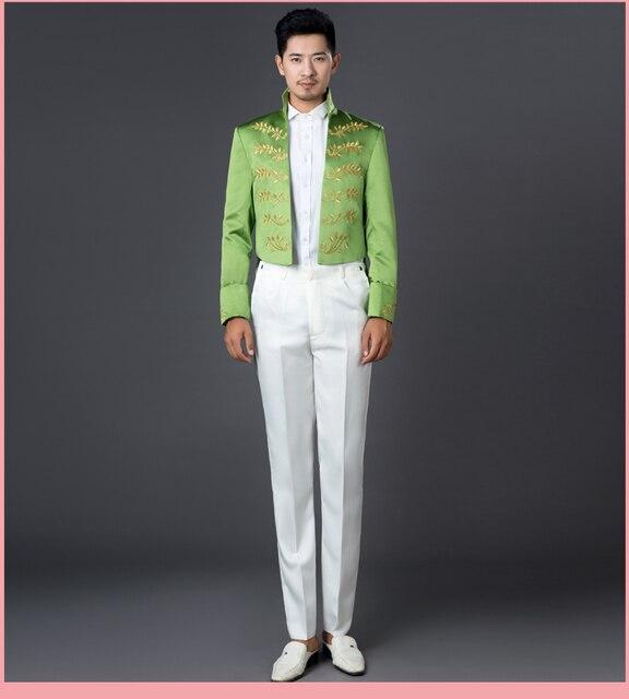 Мужские белый / зеленый / золотой лист вышивка средневековый махаон темно-смокинг принц / этап performacne / это только куртка
