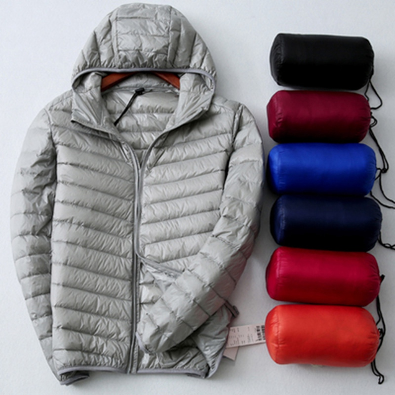 2018 New Thin Soft Warm Male Spring Autumn Men Casual Jacket Coat Outwear Clothes Long Sleeve Slim Plus Size Hoody Duck Down